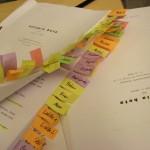 Das Drehbuch mit Markierungen für die Vorsprech-Szenen